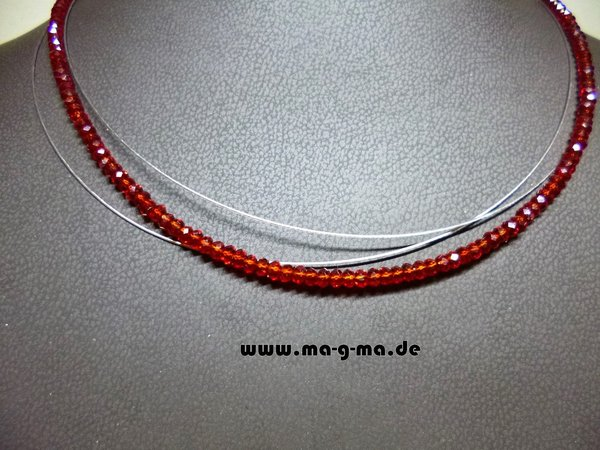 Facett-Glasperlen-Collier in Rot